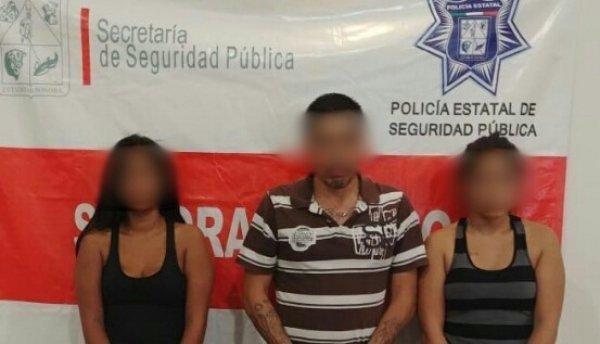 Asegura PESP a un hombre y dos mujeres con arma y probable droga en Cajeme