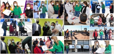 Entrega Gobernadora Pavlovich apoyos y obras y supervisa vacunación en municipios del sur del estado