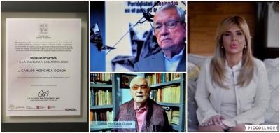Reconoce gobernadora Claudia Pavlovich al escritor y periodista Carlos Moncada Ochoa