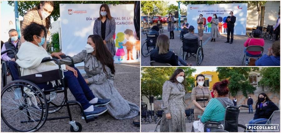 Con entrega de sillas de ruedas, conmemora Celida López el Día Internacional de las Personas con Discapacidad